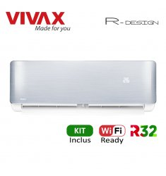 Aer Conditionat VIVAX R-Design ACP-09CH25AERI SILVER Wi-Fi Ready Kit de instalare inclus R32 Inverter 9000 BTU/h