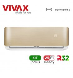 Aer Conditionat VIVAX R-Design ACP-09CH25AERI GOLD Wi-Fi Ready Kit de instalare inclus R32 Inverter 9000 BTU/h